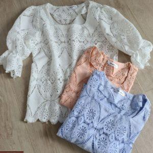 Купить по скидке белую, персик. голубую кружевную блузу с квадратным вырезом для женщин