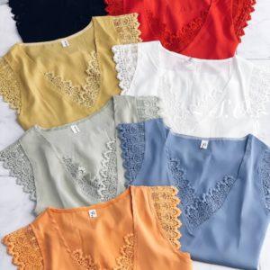 Купить голубую, красную, горчица, белую дешево шелковую блузу с кружевом для женщин
