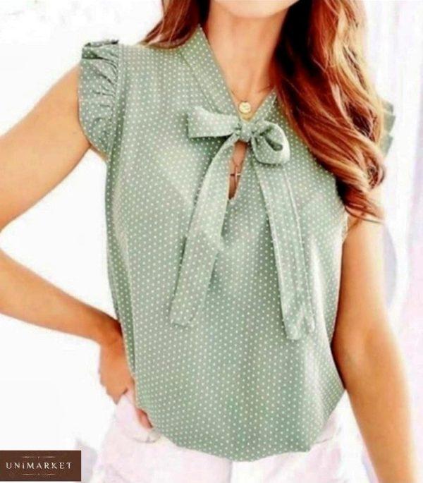 Купити кольору оливка жіночу літню блузу в горошок (розмір 42-54) за низькими цінами