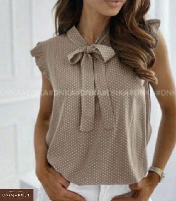 Придбати бежеву жіночу літню блузу в горошок (розмір 42-54) на розпродажі