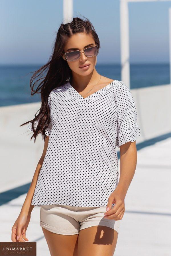 Замовити онлайн білу блузку в горошок з коротким рукавом (розмір 42-56) для жінок