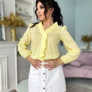Купить лимонную женскую блузку с рюшами из хлопка (размер 42-52) по низким ценам