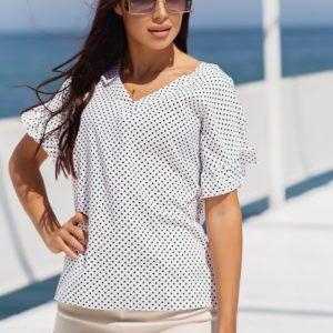 Купити вигідно жіночу блузку в горошок з коротким рукавом (розмір 42-56) білого кольору