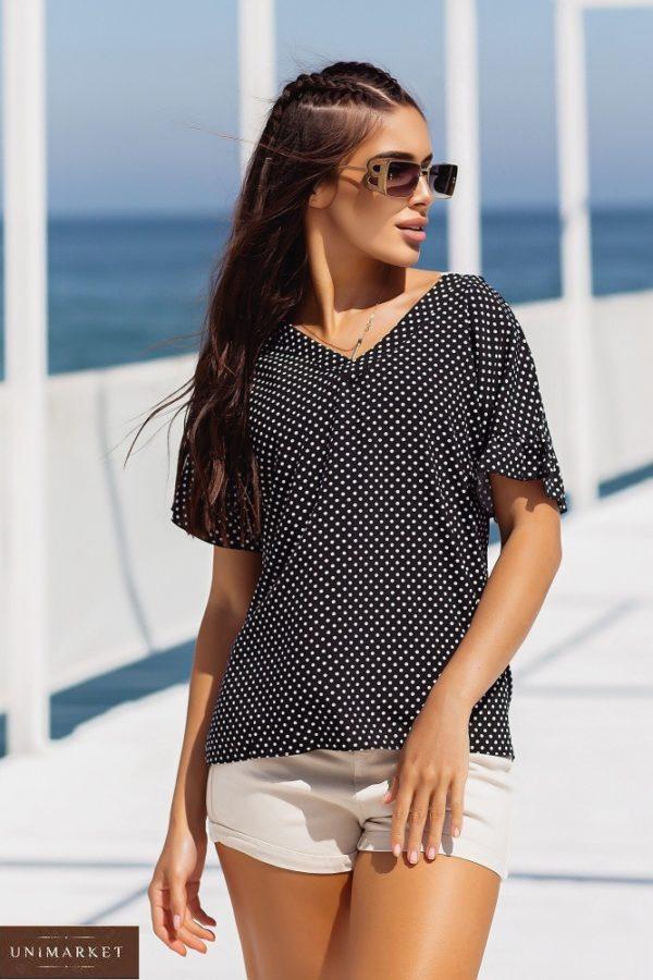 Придбати чорну для жінок блузку в горошок з коротким рукавом (розмір 42-56) в Україні