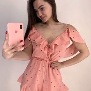 Заказать женский персик комбинезон в горошек с шортами в интернетекомбинезон в горошек с шортами