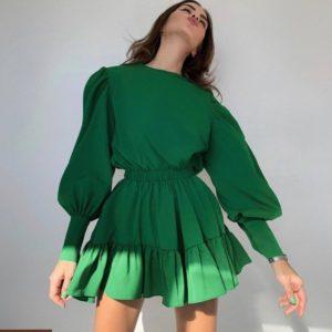 Купить зеленый женский комбинезон мини с длинным рукавом недорого