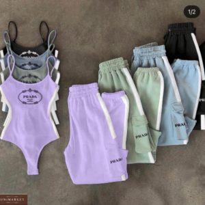 Заказать лиловый, голубой, черный, фисташка костюм Prada со штанами с боди для женщин онлайн