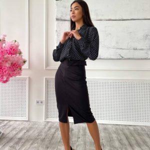 Купить черный женский костюм с юбкой и рубашкой онлайн