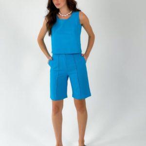 Заказать голубой женский костюм из льна: шорты и топ дешево