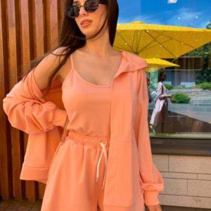 Заказать онлайн оранж костюм тройка с шортами для женщин