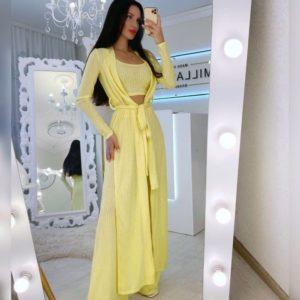 Купить желтого цвета женский трикотажный прогулочный костюм тройка онлайн