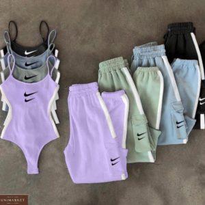 Купить в интернете лиловый, голубой, фисташка костюм Nike со штанами с боди для женщин