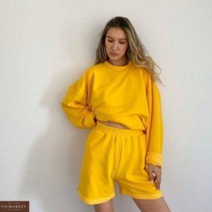 Приобрести желтый женский яркий костюм: свитшот+шорты дешево