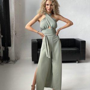 Заказать в интернете серо-зеленый женский брючный костюм с кофтой кимоно и топом (размер 42-52)
