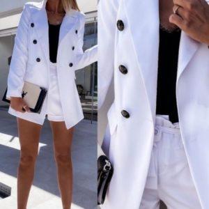 Заказать недорого белый летний костюм для женщин с пиджаком и шортами (размер 42-48)