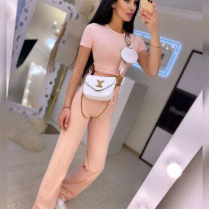 Заказать персиковый женский прогулочный костюм с топом в интернете