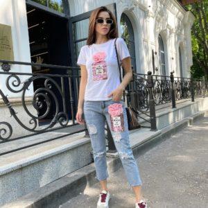 Заказать дешево белый принтованный комплект с джинсами (размер 42-48) для женщин