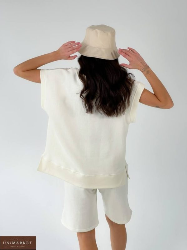 Заказать недорого молочный костюм: жилет и шорты для женщин