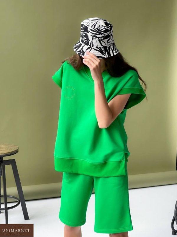 Заказать зеленый женский костюм: жилет и шорты по скидке