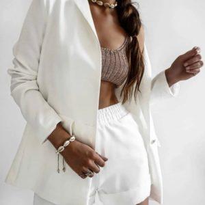 Купить белый женский костюм с пиджаком и шортами в Украине