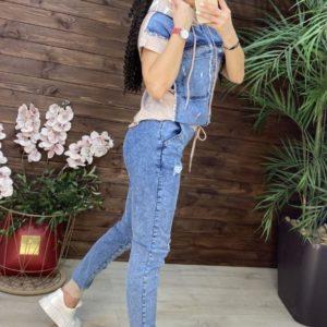 Приобрести бежевый костюм джинсовый с коротким рукавом в интернете для женщин