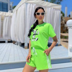 Заказать по скидке женский трикотажный костюм с Микки Маусом (размер 42-52) салатовый
