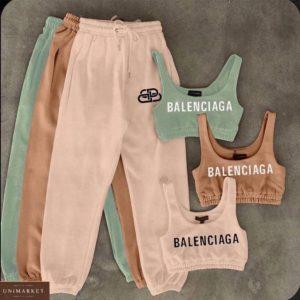 Заказать по скидке беж, фисташка костюм Balenciaga с топом для женщин