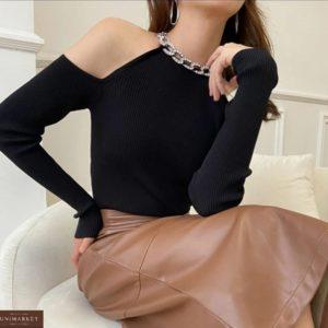 Купити чорну жіночу кофту з прикрасою і відкритими плечима в інтернеті