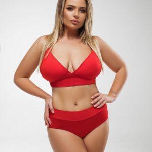 Купить онлайн красного цвета поддерживающий раздельный купальник (размер 48-58) для женщин
