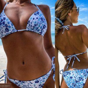 Купить голубой женский раздельный принтованный купальник (размер 42-50) недорого