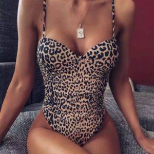 Приобрести леопард женский цельный купальник с эффектом утяжки по низким ценам
