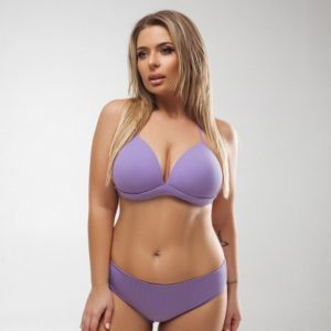Приобрести онлайн лиловый раздельный купальник с плотной чашкой (размер 48-58) для женщин
