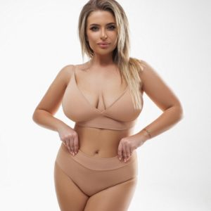 Заказать большого размера поддерживающий раздельный купальник (размер 48-58) бежевый для женщин
