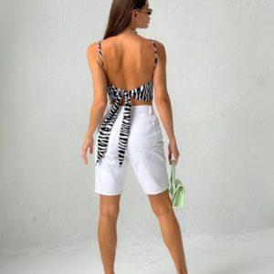 Купить женский черно-белый топ с завязкой на спине онлайн