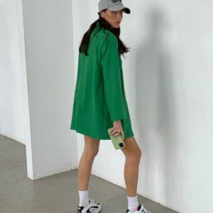 Купить по низким ценам женский удлиненный пиджак с подплечниками зеленого цвета