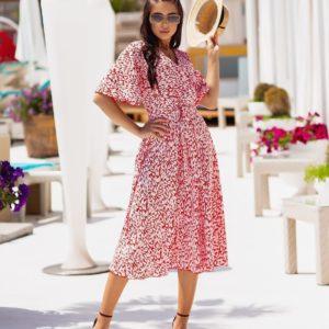 Заказать онлайн красное платье на запах с принтом (размер 42-54) для женщин