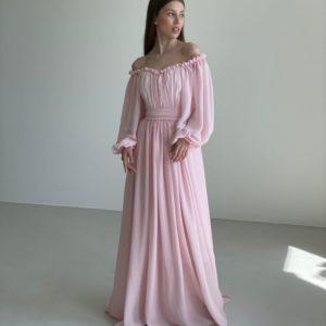 Купить розовое нежное платье в пол с открытыми плечами (размер 42-52) недорого для женщин