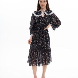 Заказать онлайн черное женское шифоновое платье миди с воротником (размер 42-62) по скидке