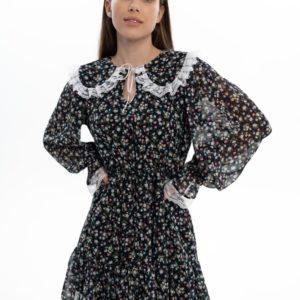 Заказать черное женское шифоновое платье мини с воротником по скидке