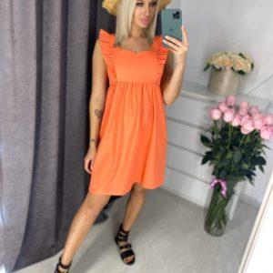 Купить оранжевое женское летнее платье с рюшами (размер 42-48) в Украине