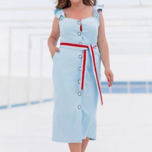 Заказать голубое женское летнее платье на пуговицах с поясом (размер 42-56) по скидке