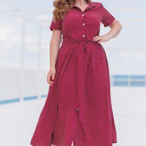 Заказать бордо женское платье-рубашка миди в горошек (размер 42-56) по скидке
