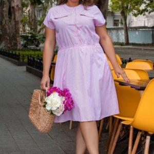 Купить розовое женское полосатое платье из коттона (размер 42-58) недорого