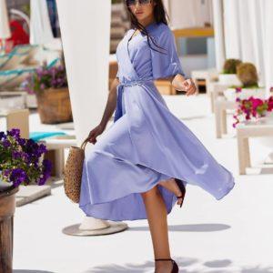 Заказать онлайн лиловое женское платье на запах с коротким рукавом (размер 42-54)