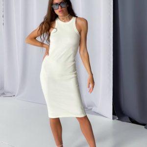 Купить выгодно женское платье майка длины миди белого цвета
