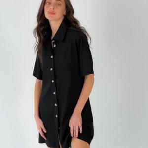 Заказать онлайн черное льняное платье-рубашка с разрезом (размер 42-48) для женщин