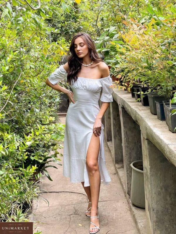 Заказать онлайн белое женское платье миди из льна с разрезом