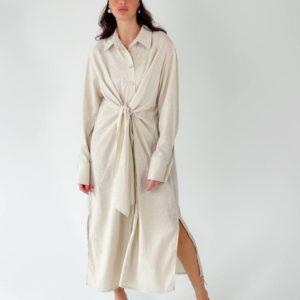 Купить в интернете беж длинное платье-рубашка из льна (размер 42-50) для женщин