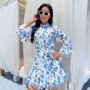 Купить голубое женское платье с цветочным принтом (размер 42-48) по скидке