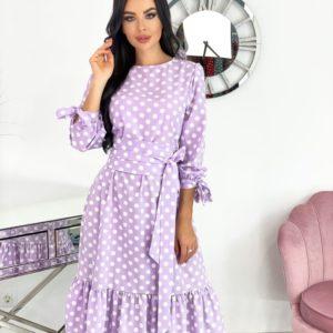 Заказать лиловое женское платье в горошек длины миди (размер 42-52) по скидке